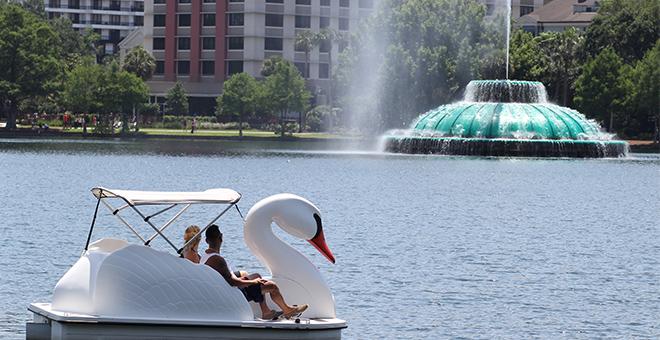 Lake Eola Fountain swan boats